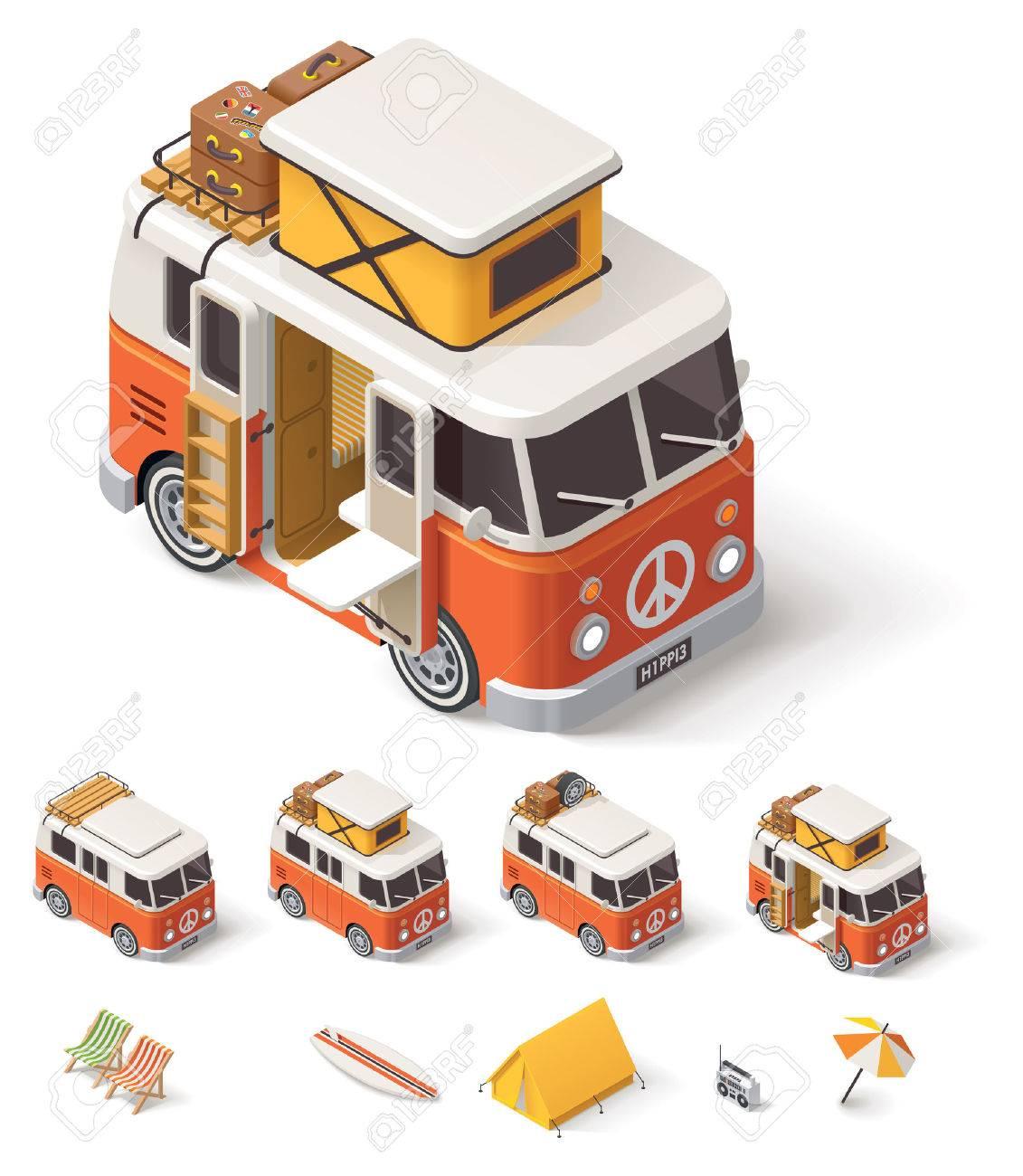 Isometric Retro Camper Van And Travelers Equipment Stock Vector