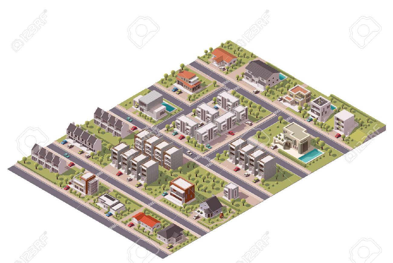 Isometric map of the small town or suburb - 41959937
