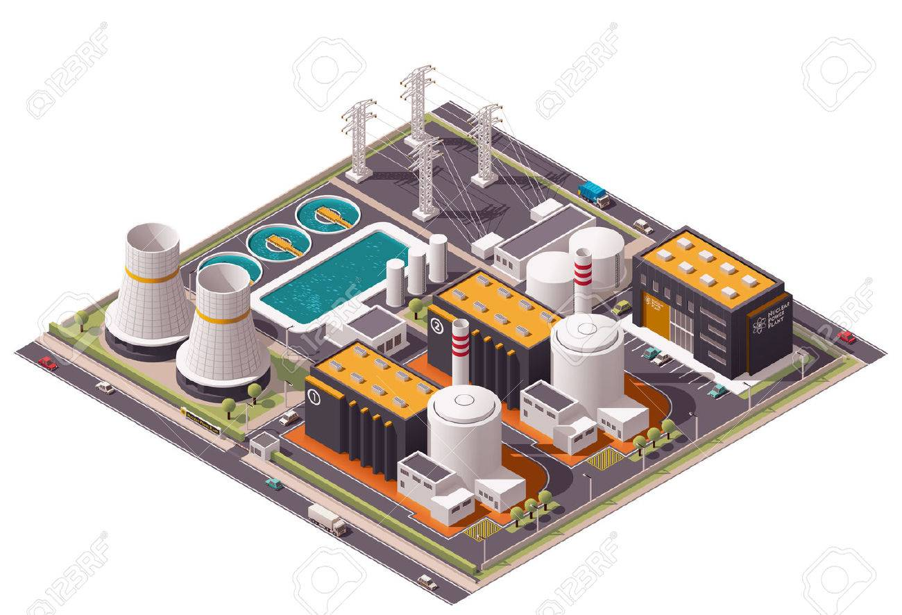 Isometric icon set representing nuclear power station - 43834177
