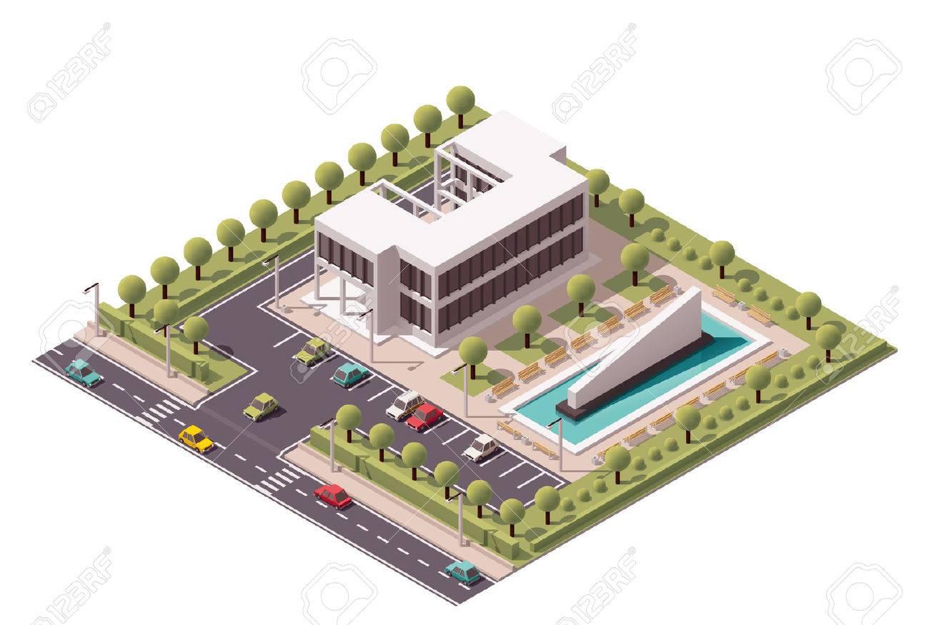 Isométrique icône ensemble représentant immeuble de bureaux clip