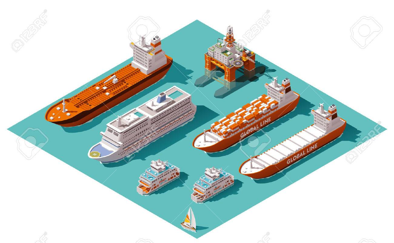 Isometric icons representing nautical transport Stock Vector - 46176358