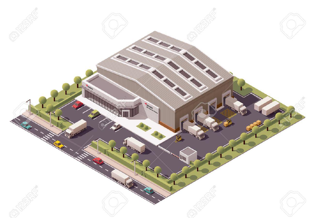 Vector isometric warehouse building icon - 46176394