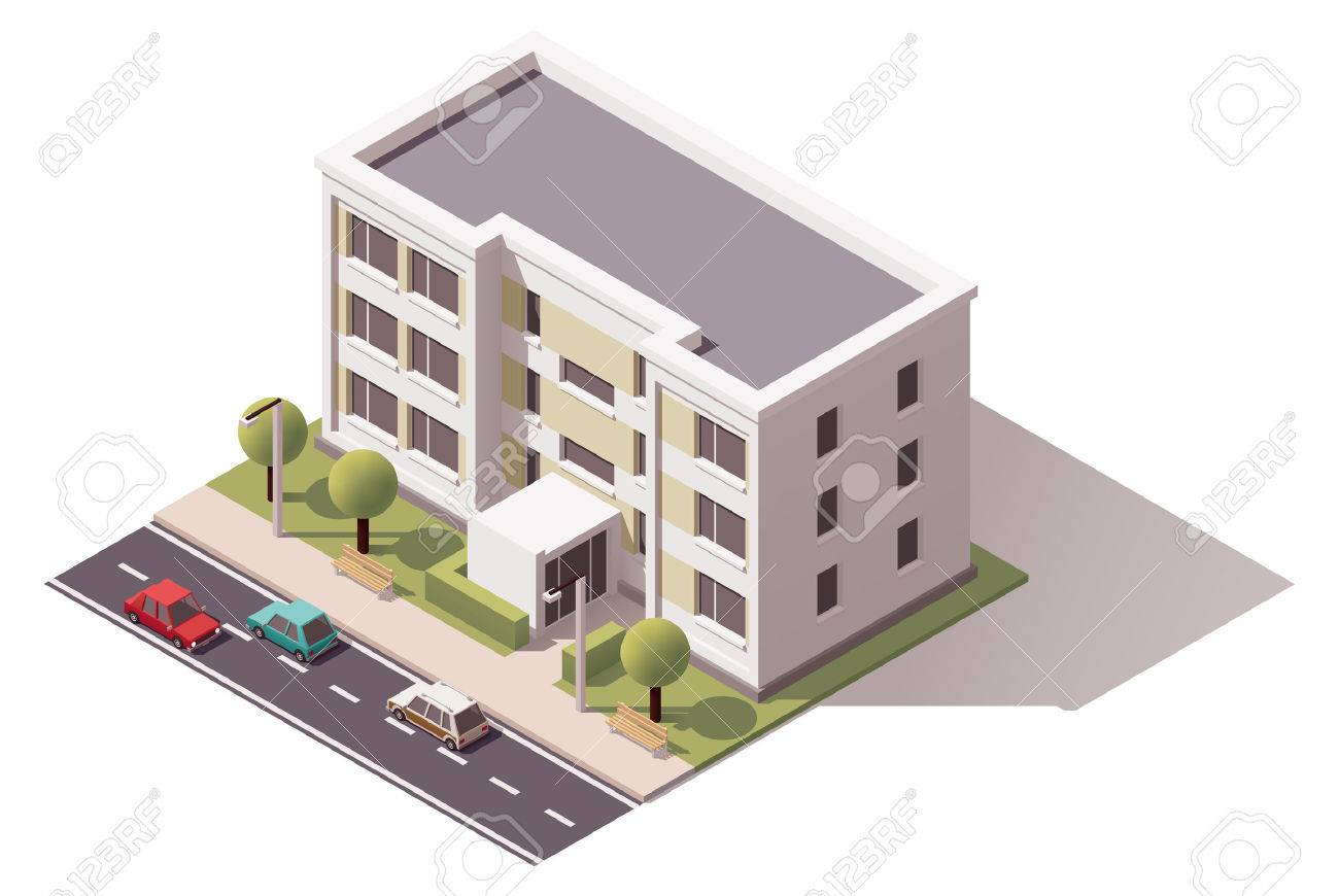 Isometric icon representing city building - 52548985