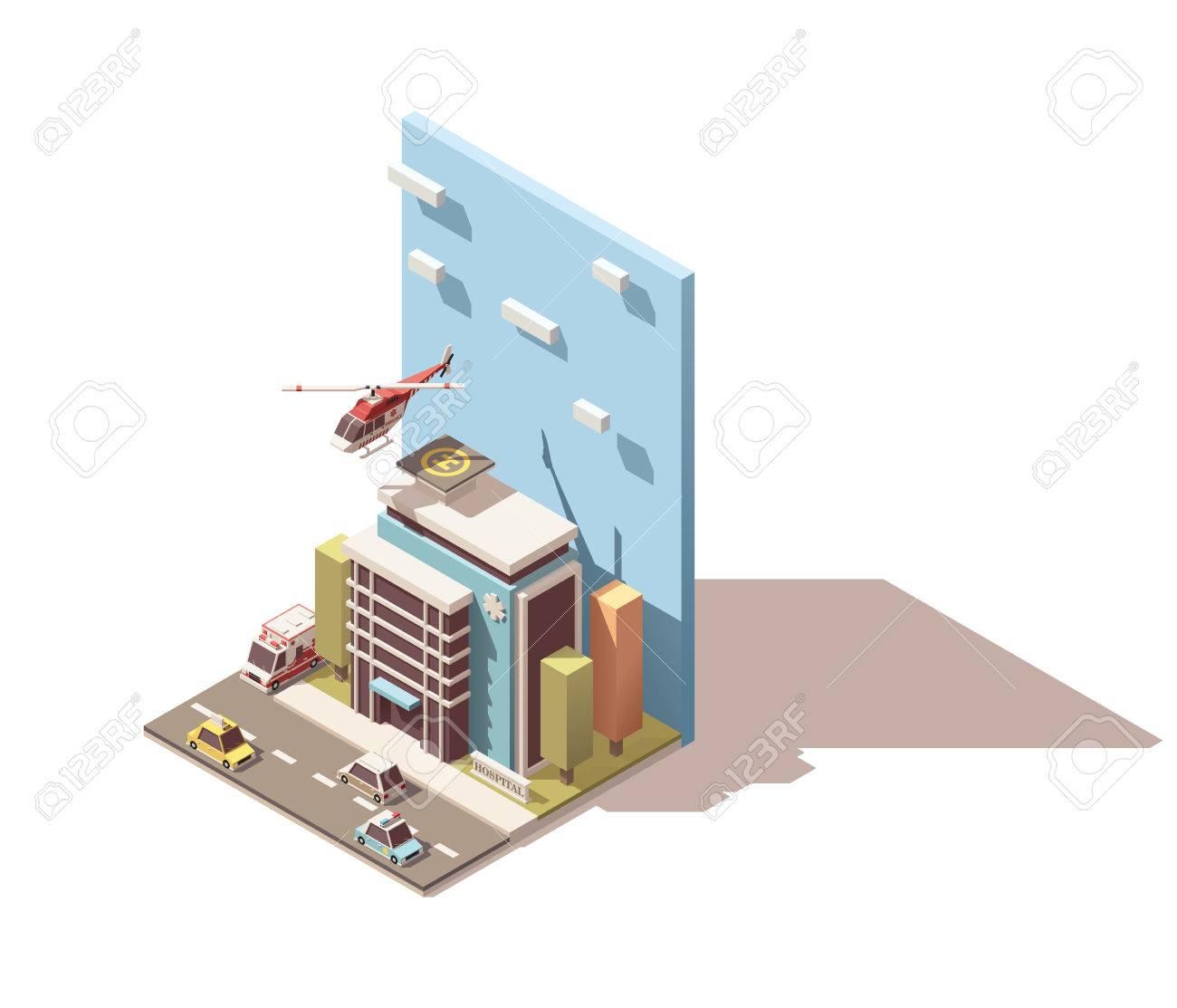 ベクター等尺性のアイコンまたはインフォ  グラフィック要素病院や救急車を表すの関連イラスト。等尺性救急バン、ヘリ、病院やクリニックの建物、道路、ストリート要素が含まれています
