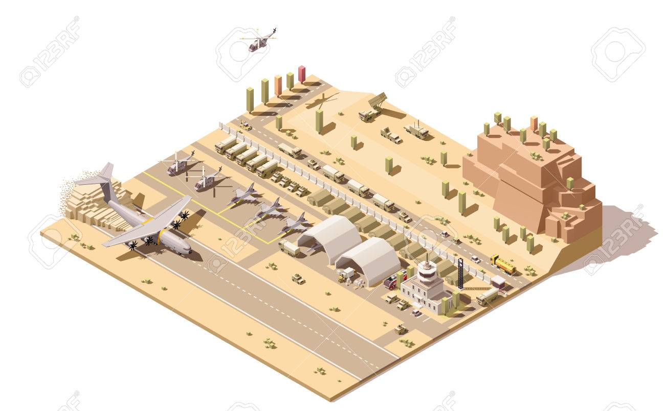 Vector isometric low poly infographic element representing map of military airport or airbase with jet fighters, helicopters, armored vehicles, structures, control tower and cargo airplane landing - 61360033