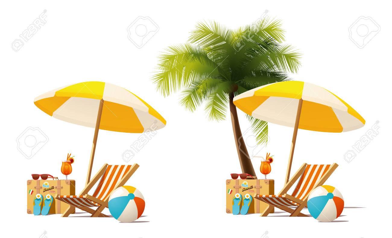 Sonnenschirm strand clipart  Detaillierte Symbol Vektor, Der Liegestuhl, Reisekoffer ...