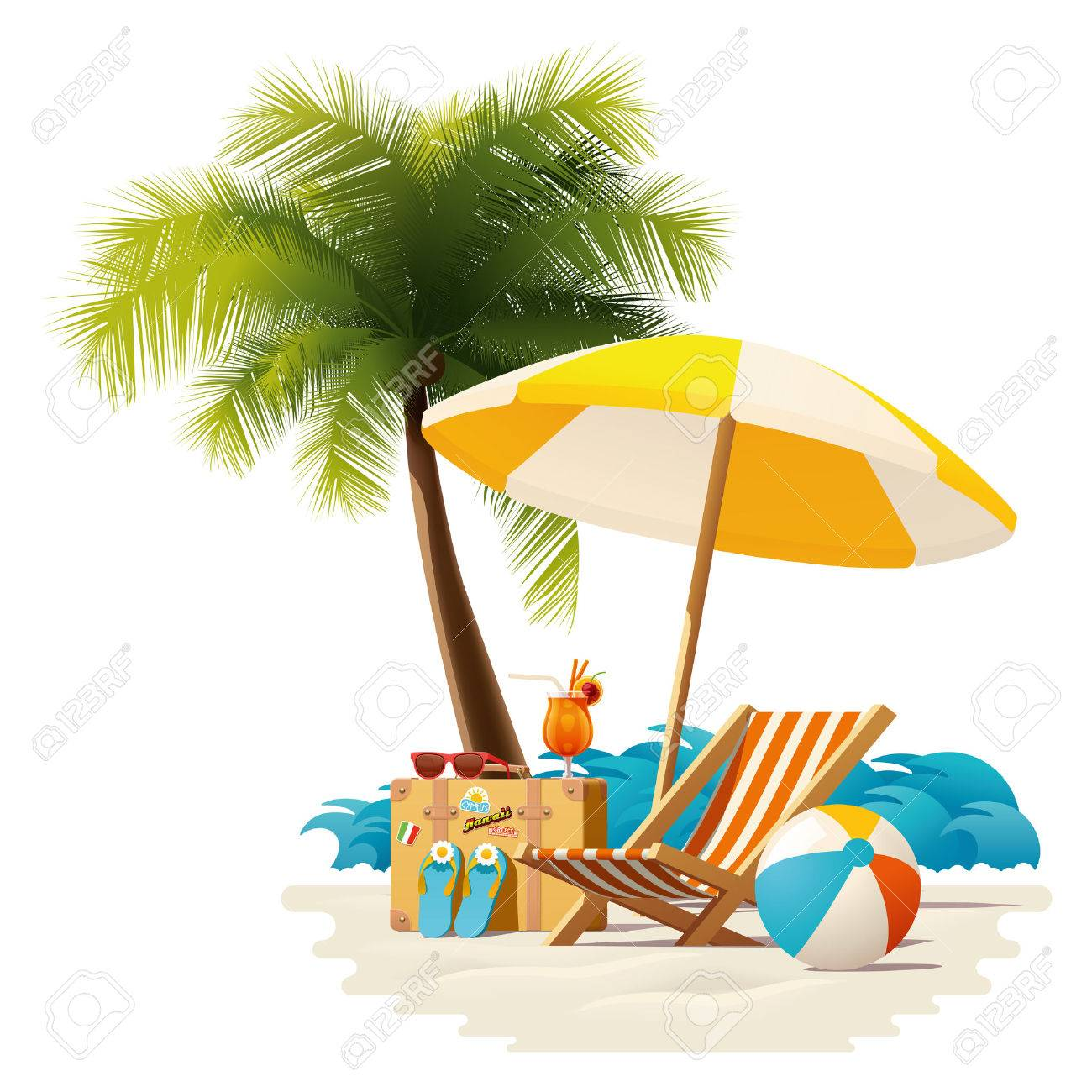 Sonnenschirm strand comic  Detailed Vector Icon Representing Deck Chair, Travel Suitcase ...