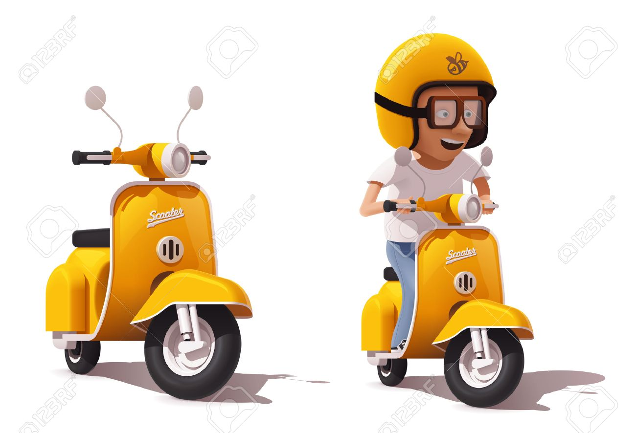 Vector realistic vintage yellow scooter and scooter driver icon - 63970830