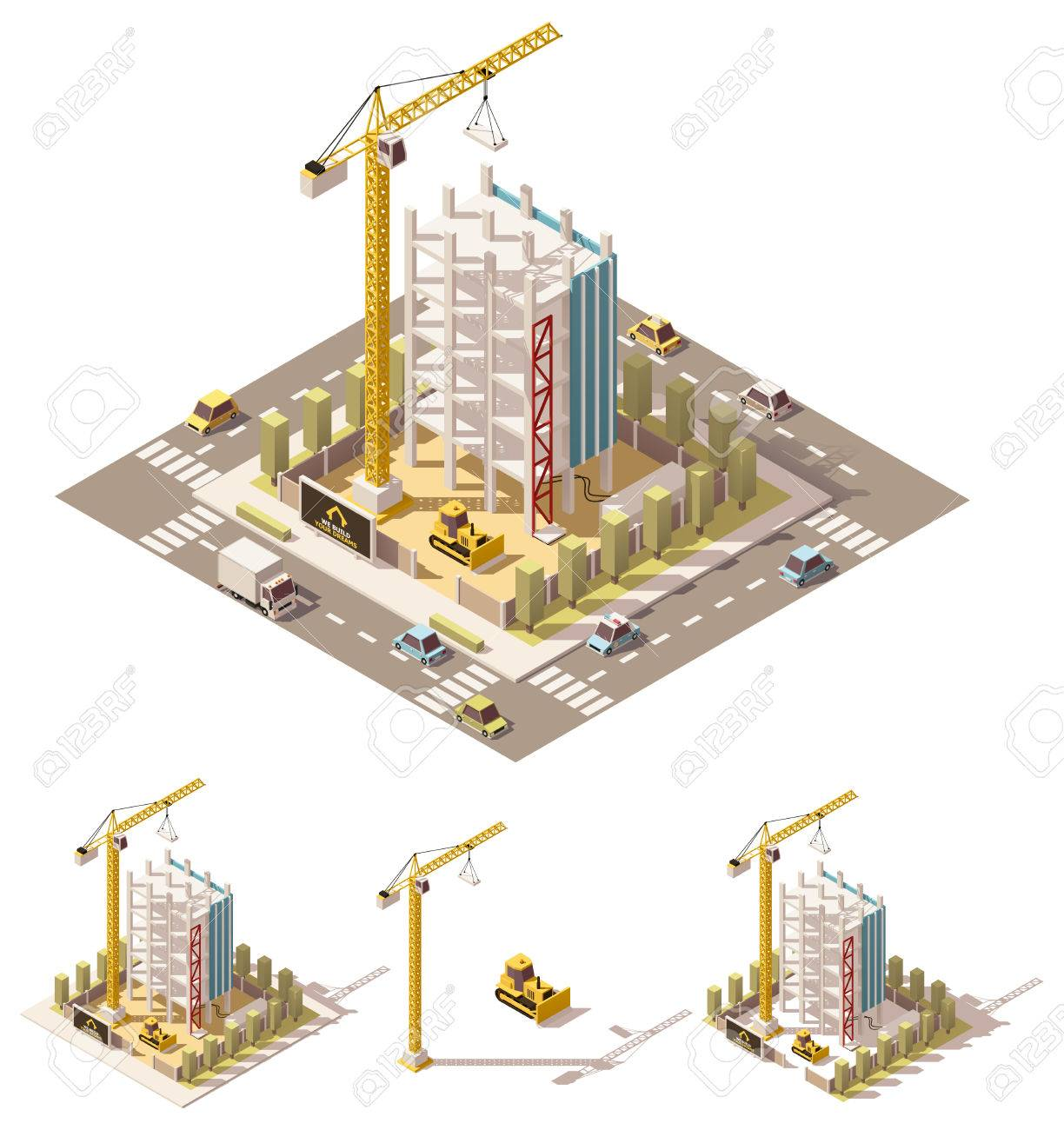 isometric low poly building construction site - 67962574