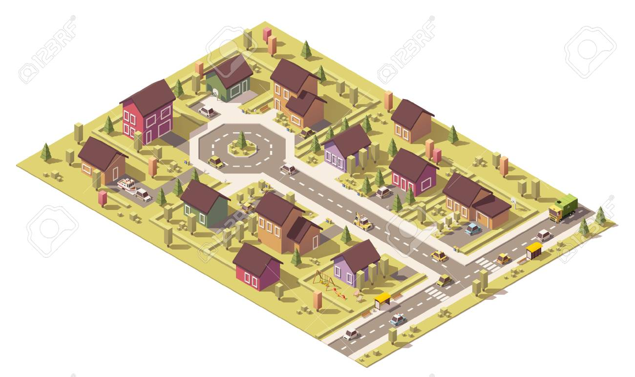 Isometric map of the small town or suburb - 67968226