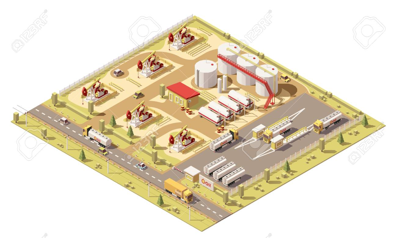 Vector isometric low poly oil field. illustration includes oil pumps, oil tanks and trucks with cisterns - 122856083