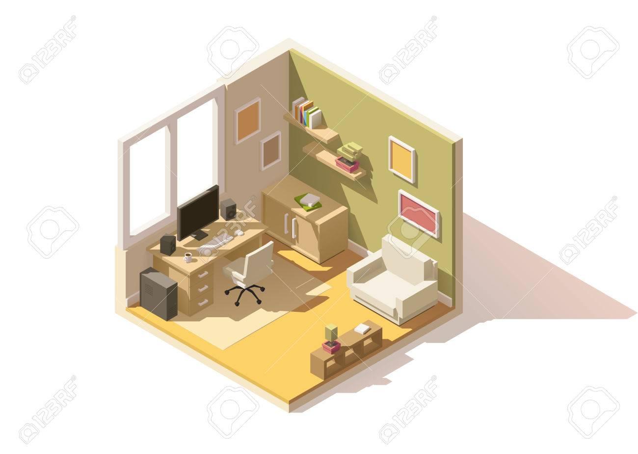 Attractive Isometrische Low Poly Raum Cutaway Symbol. Das Zimmer Verfügt über Möbel