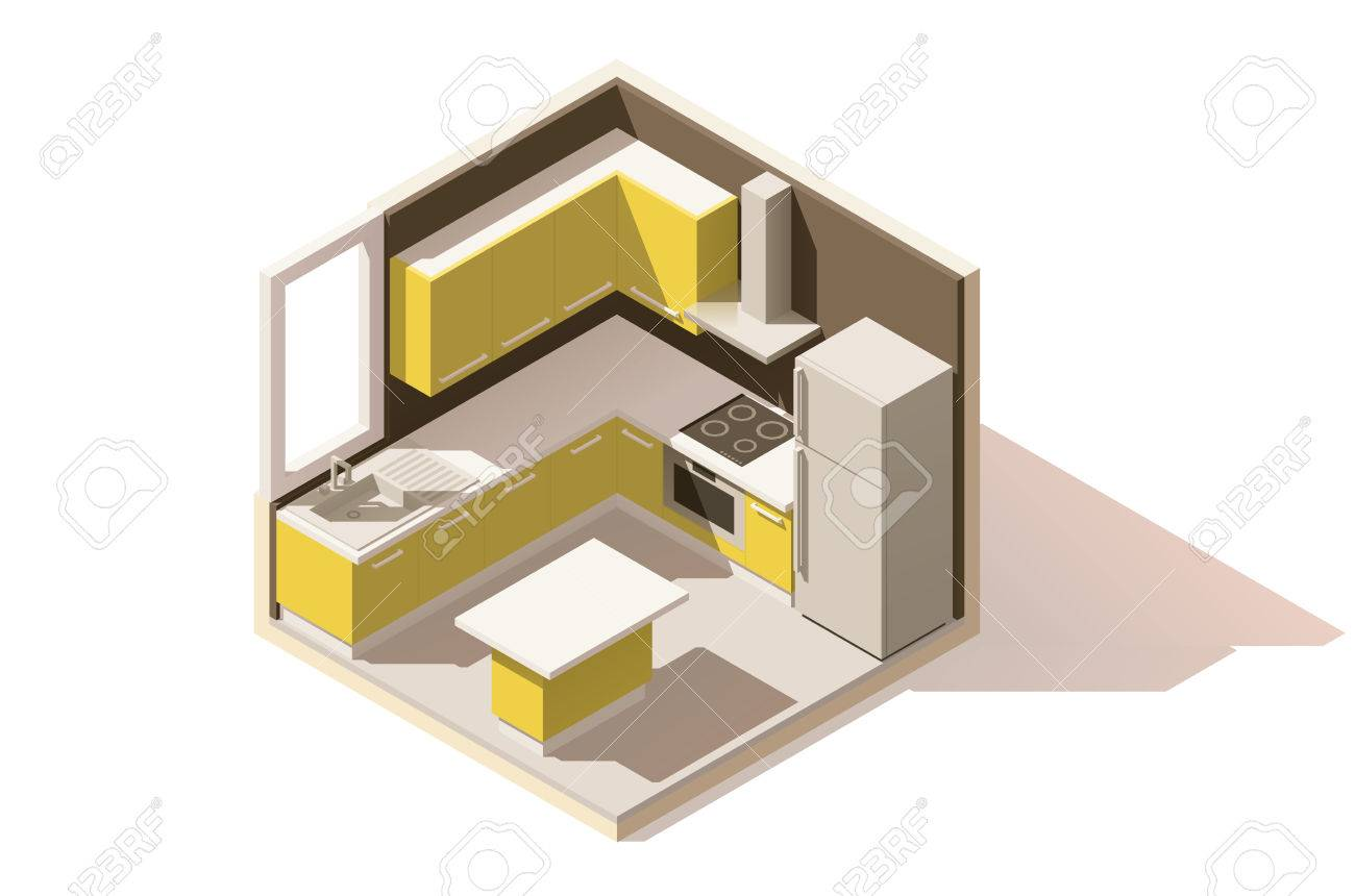 Isometric Low Poly Kitchen Room Icon Room Includes Furniture Royalty Free Cliparts Vectors And Stock Illustration Image 67988620