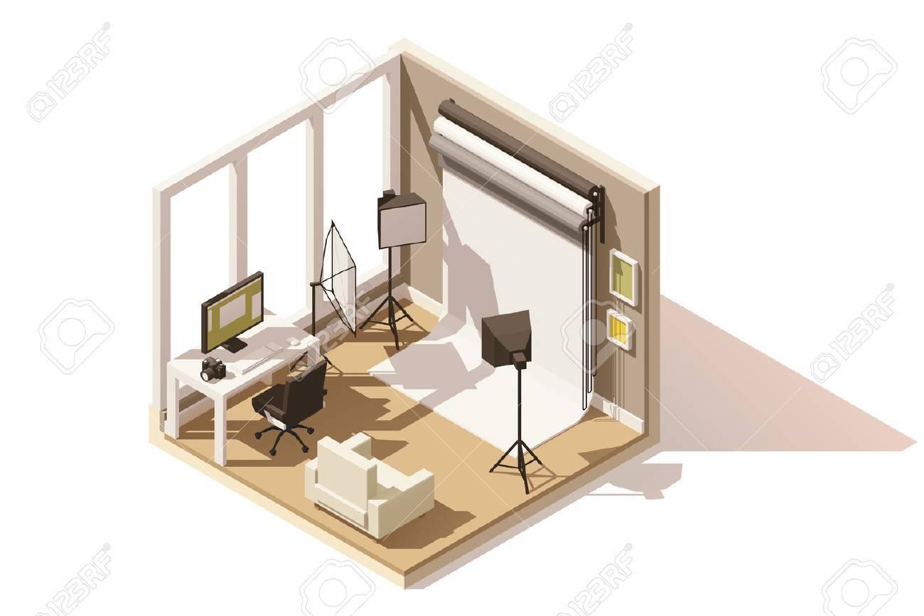Vector isometric low poly Photo studio room icon - 69256933