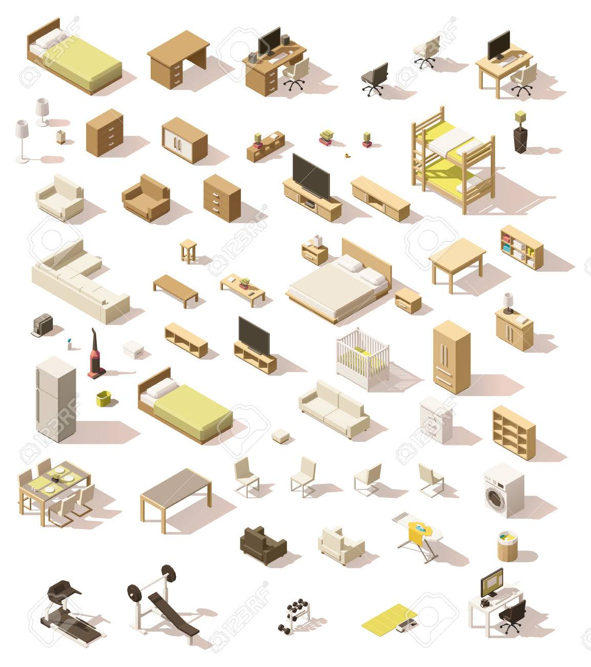 Vector isometric low poly domestic furniture set - 69256935