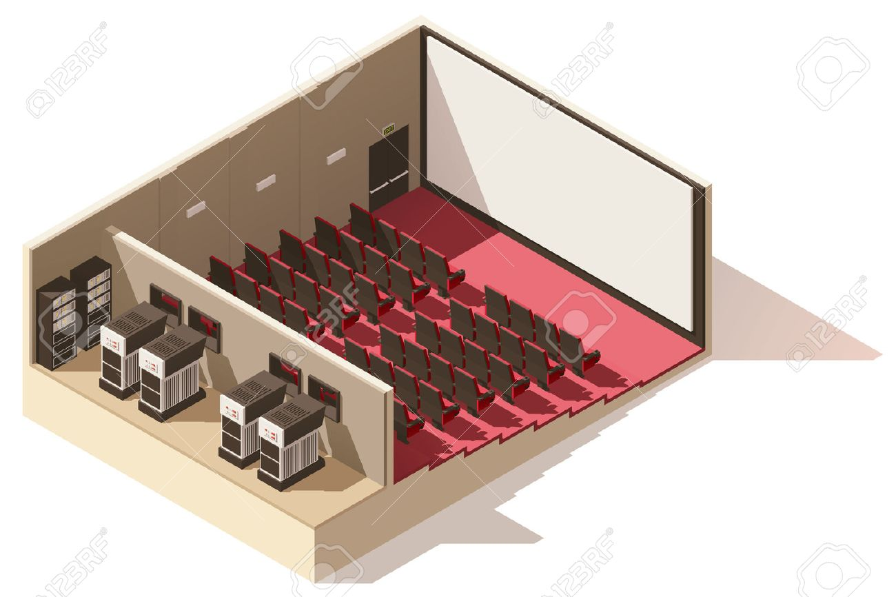 Vector isometric low poly movie theater cutaway - 69617043