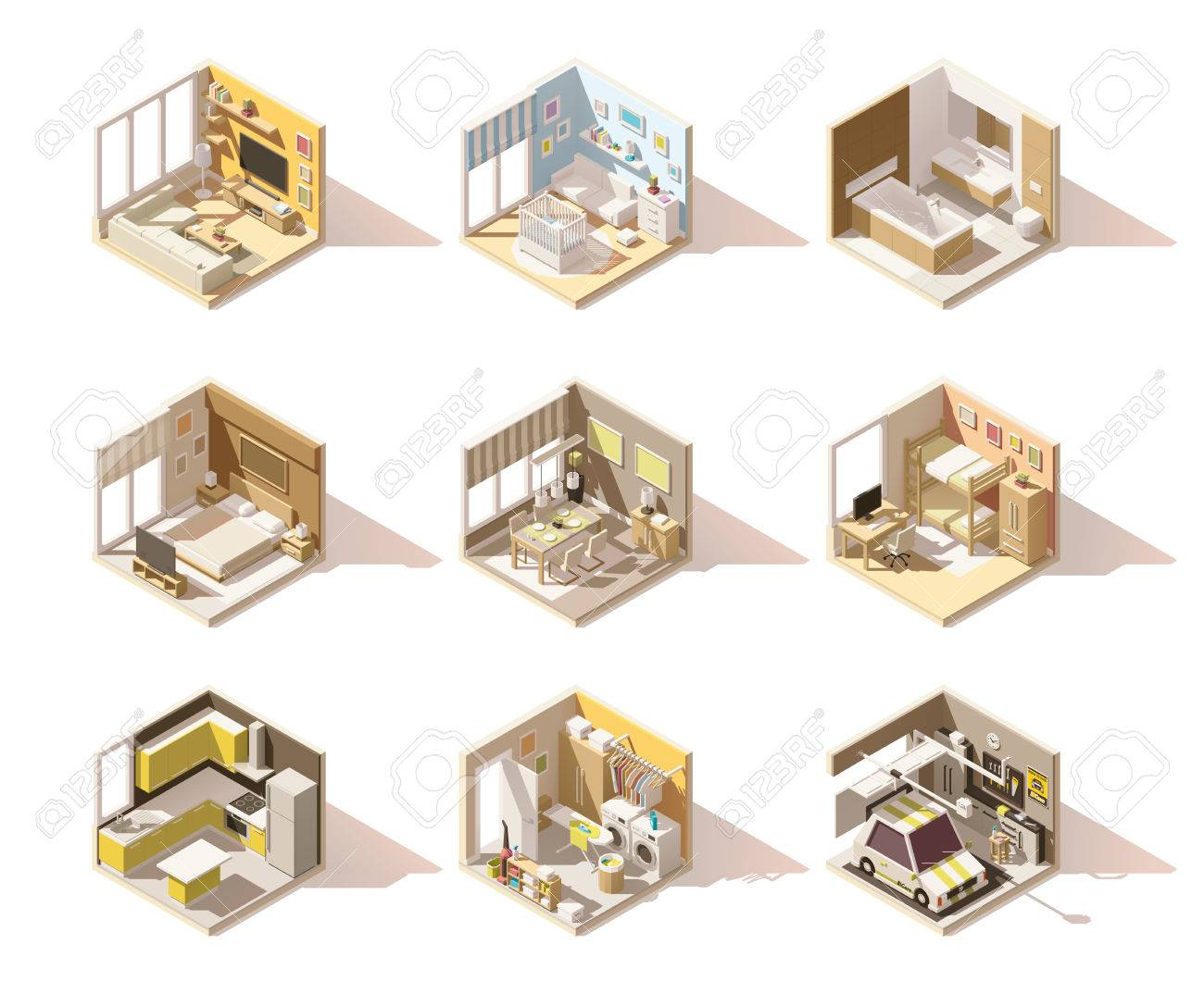 Vector isometric low poly home rooms set - 71588444