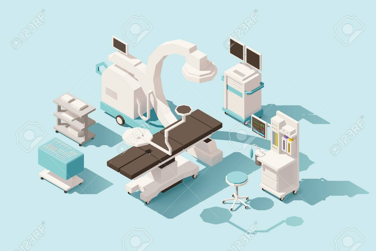 Vector isometric low poly operating room Standard-Bild - 72270773