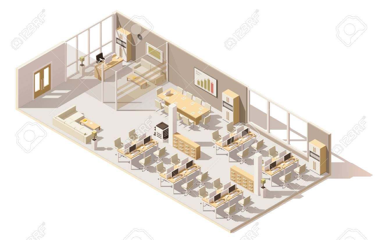 Isometric low poly office - 74015880