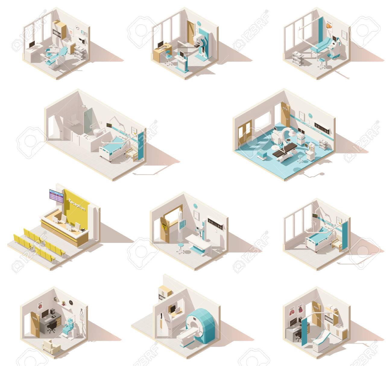 Vector isometric low poly hospital rooms - 74799400