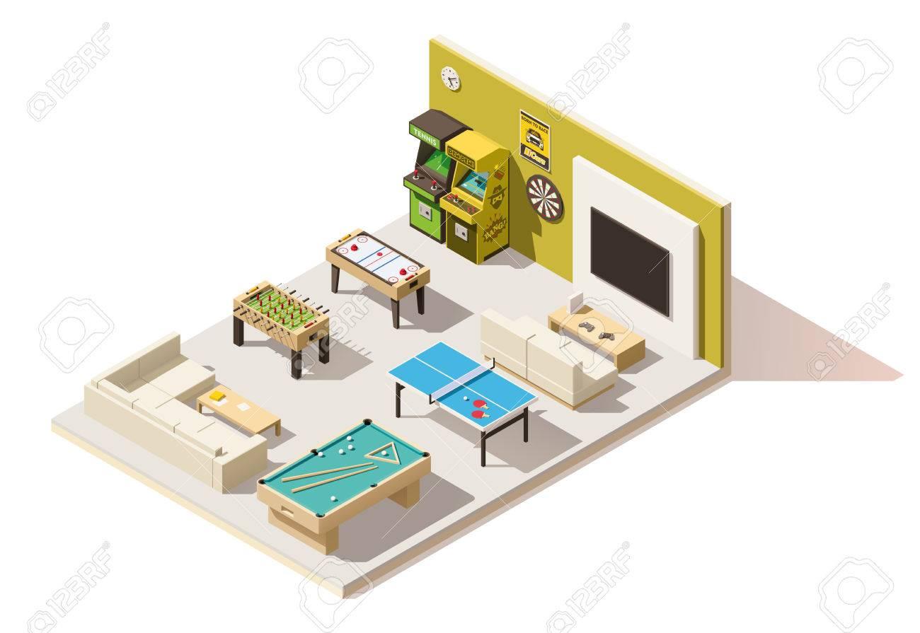 Vecteur intérieur isométrique salle de loisirs low poly Banque d'images - 75333943