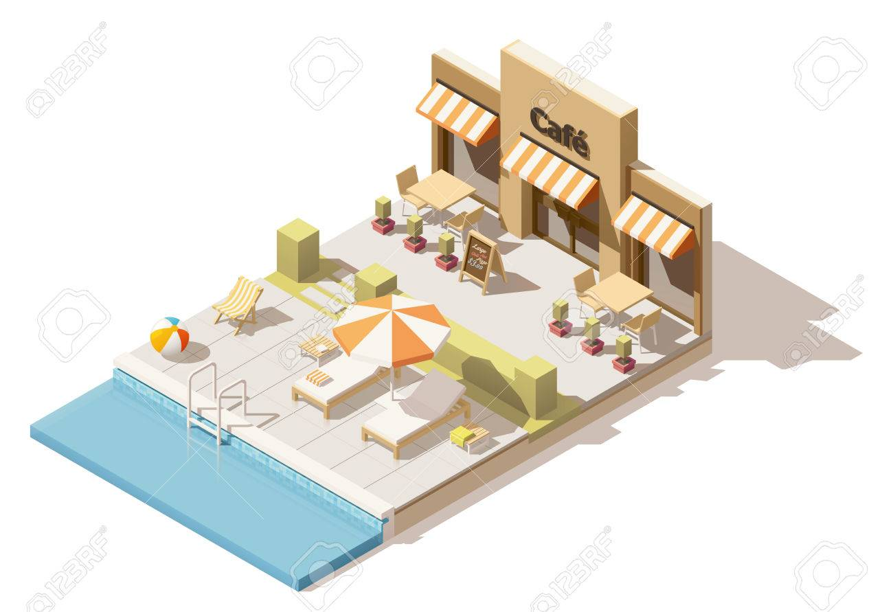 Vector Isometric Low Poly Swimming Pool And Cafe Royalty Free ...