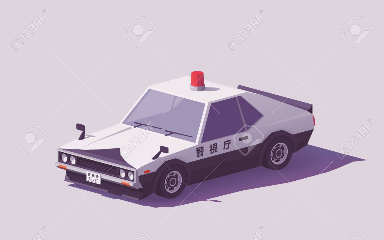 Vector low poly classic Japanese police car. - 91757156