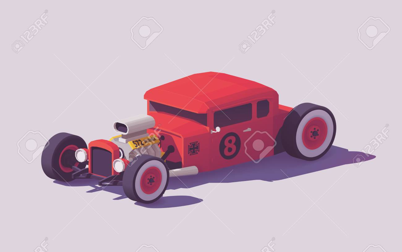 Vector low poly classic American hot rod car Standard-Bild - 91757139