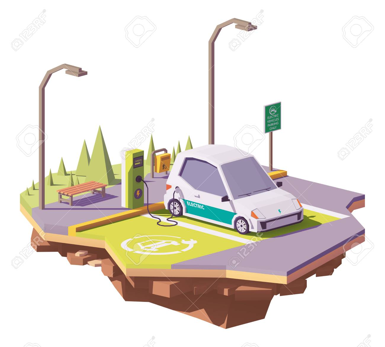 Vector low poly electric car and electric vehicle charging station - 92686724
