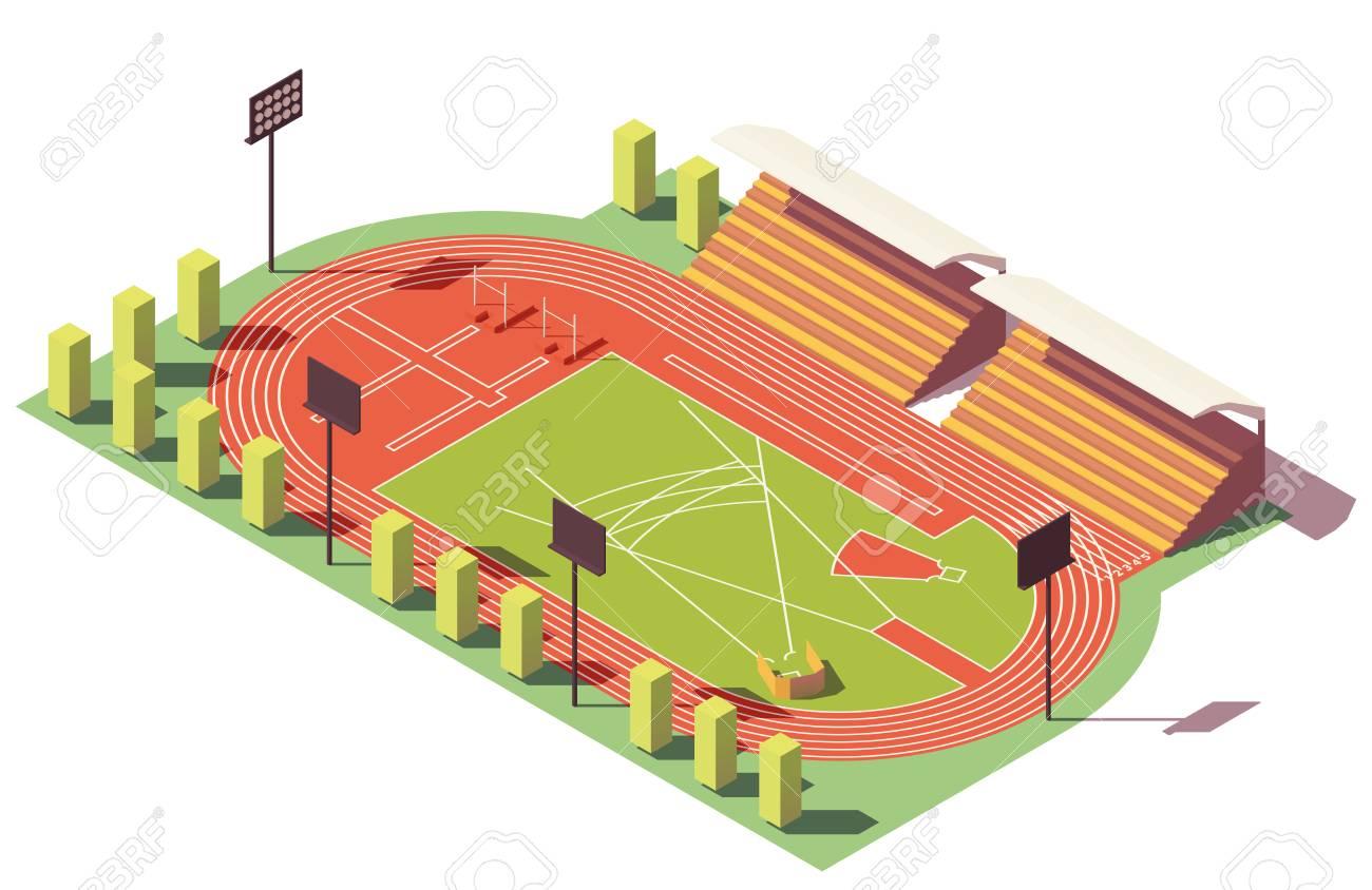 Vector isometric low poly athletics stadium - 100082335