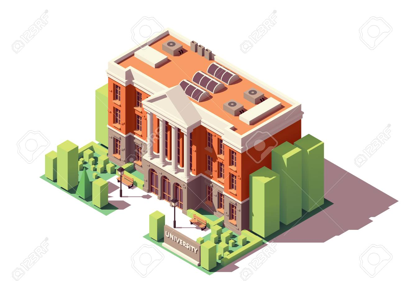 Vector isometric old university or college building - 109793698