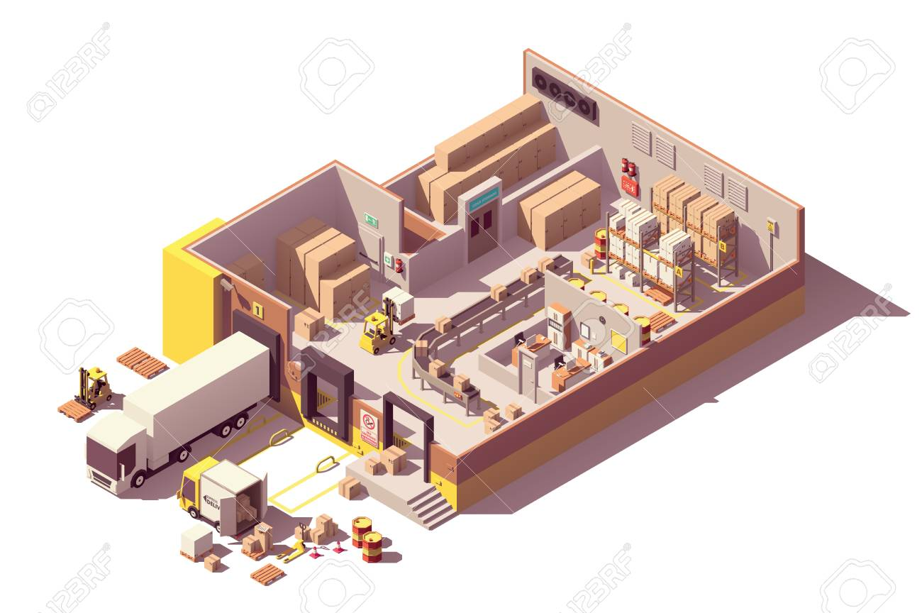 Vector isometric low poly warehouse building cross-section - 112515606