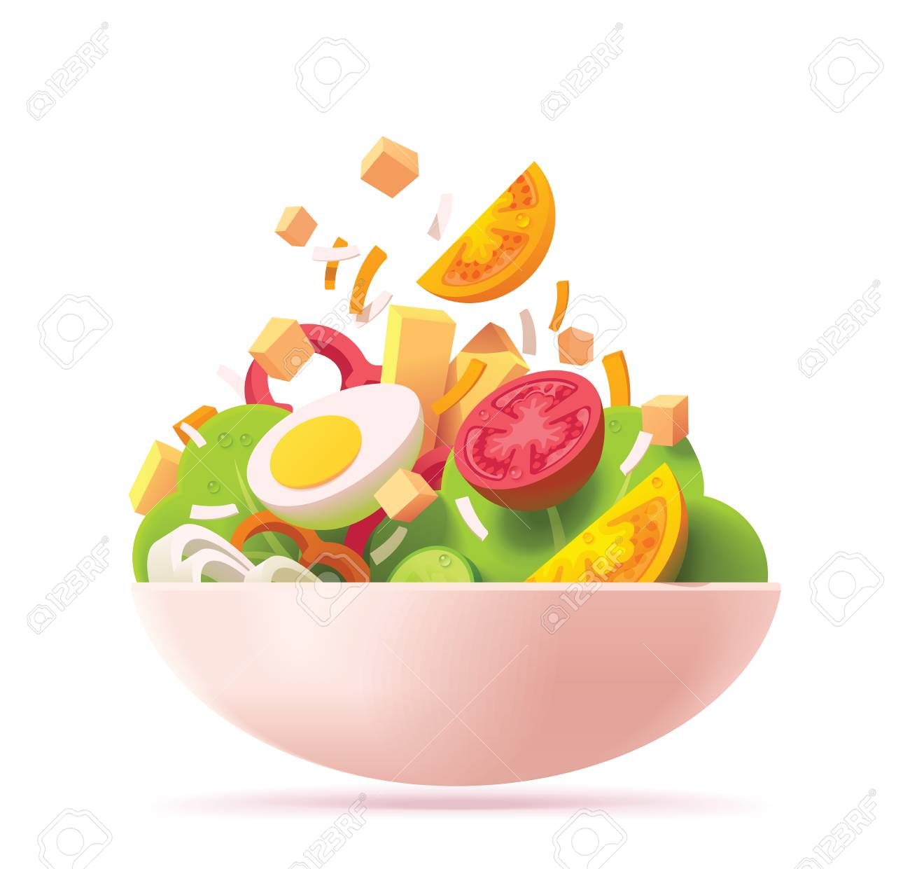 Vector green salad icon. Includes red and orange tomato, lettuce, cheese, egg, red bell pepper, croutons and onion - 113575054