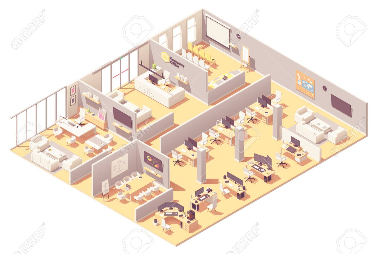 Vector isometric corporate office interior. Reception, conference room, presentation room, executive or CEO office, other workplaces with computers, office equipment and recreation area - 126597917