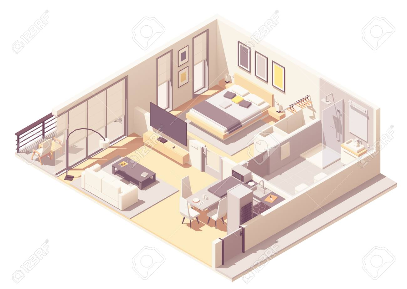 Vector isometric apartment hotel or aparthotel suite interior cross-section with double bed, big windows and balcony, tv, small bathroom, shower cabin and toilet - 118850544