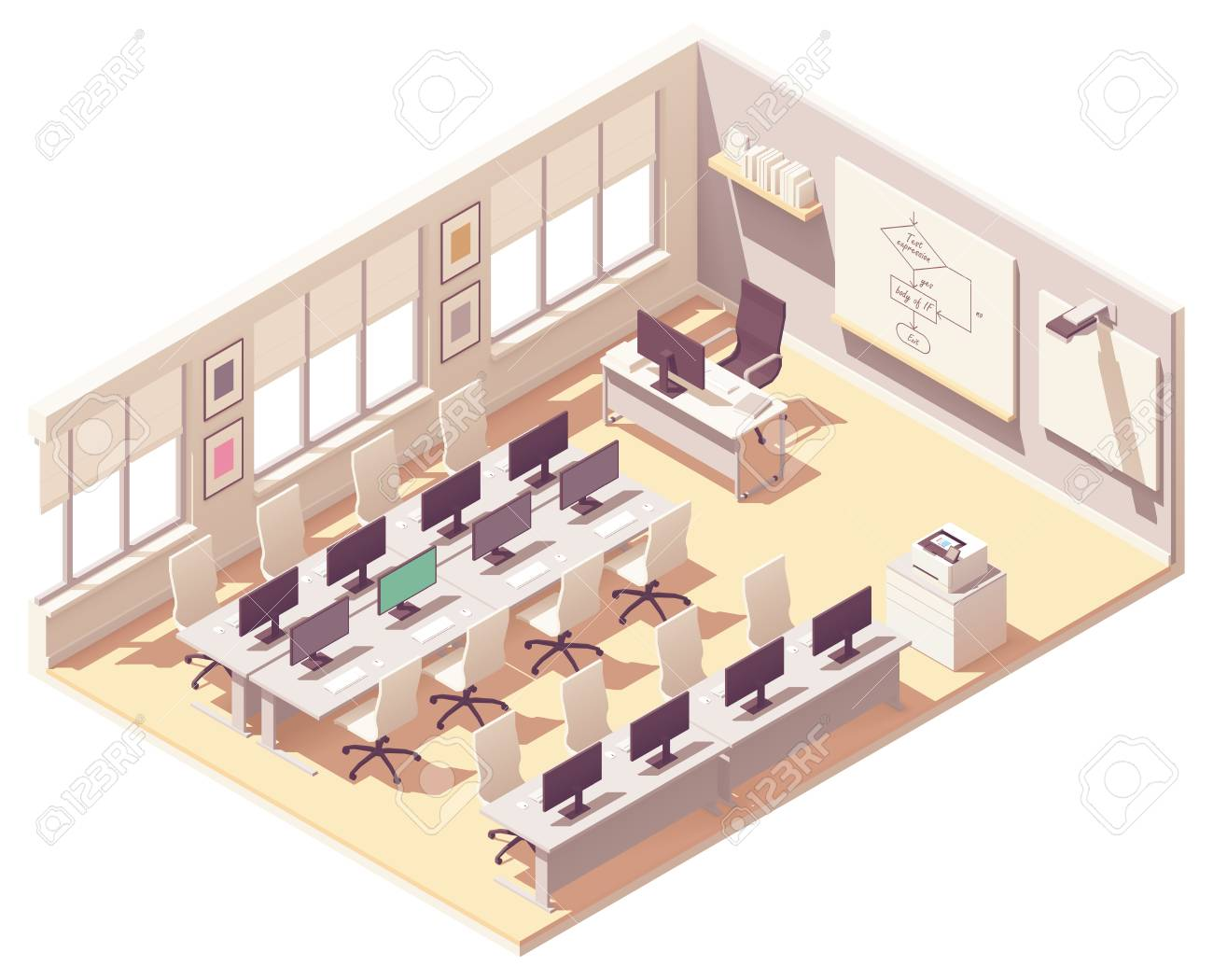 Vector Isometric School Computer Lab Or Laboratory Classroom Interior Cross Section Desks With Computers Chairs Chalkboard Projector With Screen Royalty Free Cliparts Vectors And Stock Illustration Image 122753315