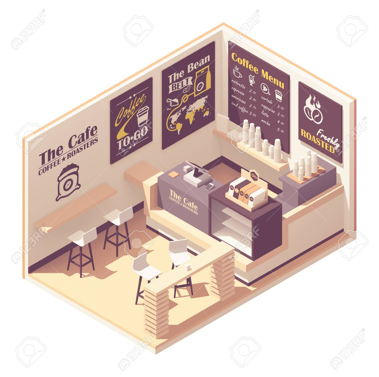 Vector isometric small coffeehouse - 125456367
