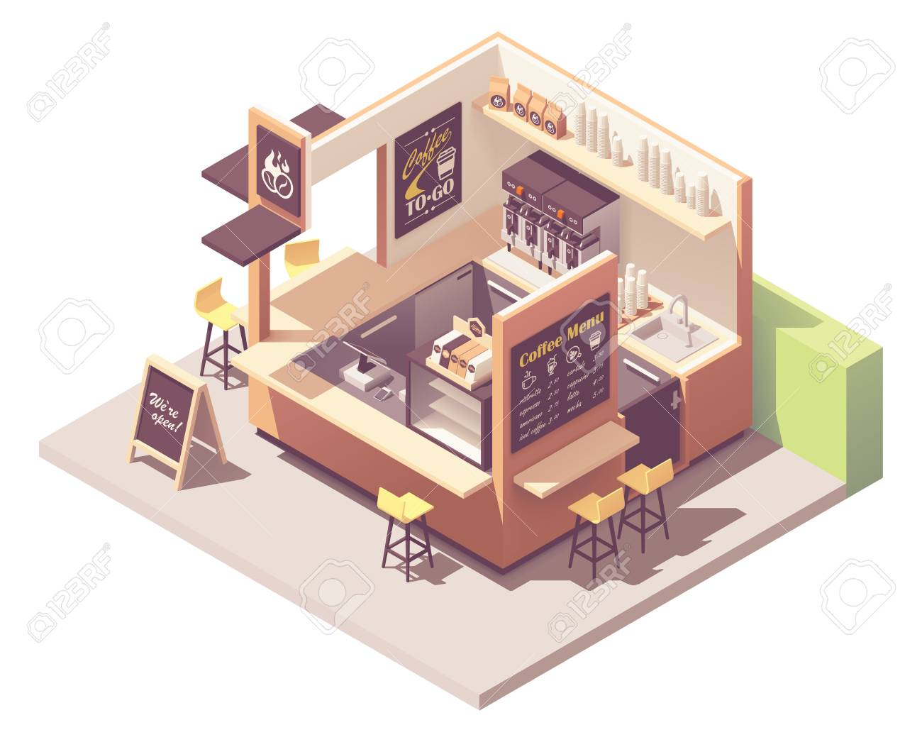 Vector Isometric Coffee Shop Or Coffeehouse Kiosk Cross Section Royalty Free Cliparts Vectors And Stock Illustration Image 128488392