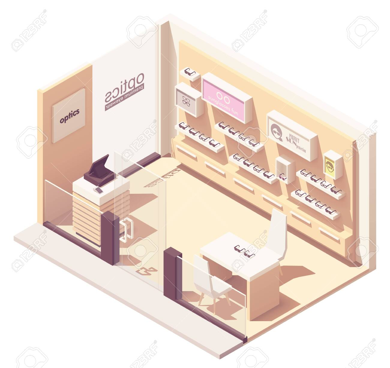 Vector Isometric Eyewear Or Optical Shop Interior Eyeglasses Royalty Free Cliparts Vectors And Stock Illustration Image 128488398