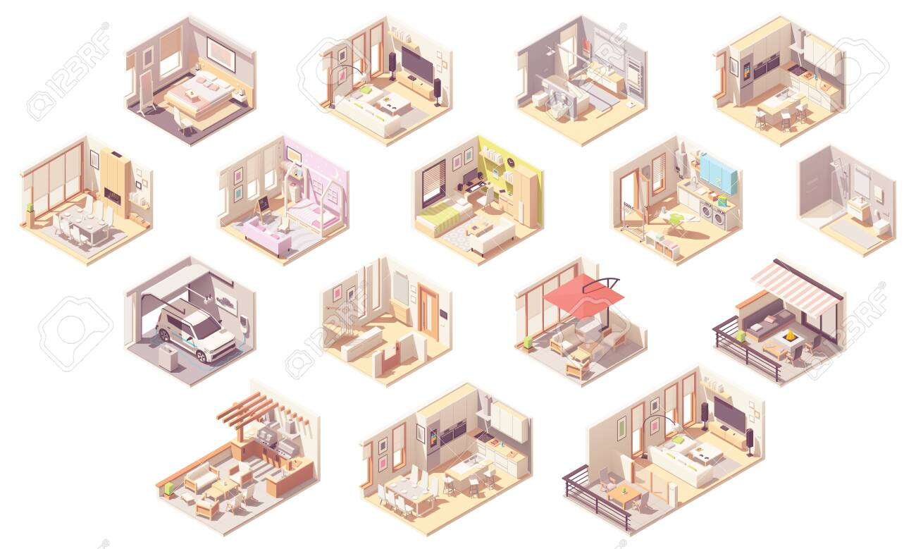 Vector isometric home rooms - 127789246