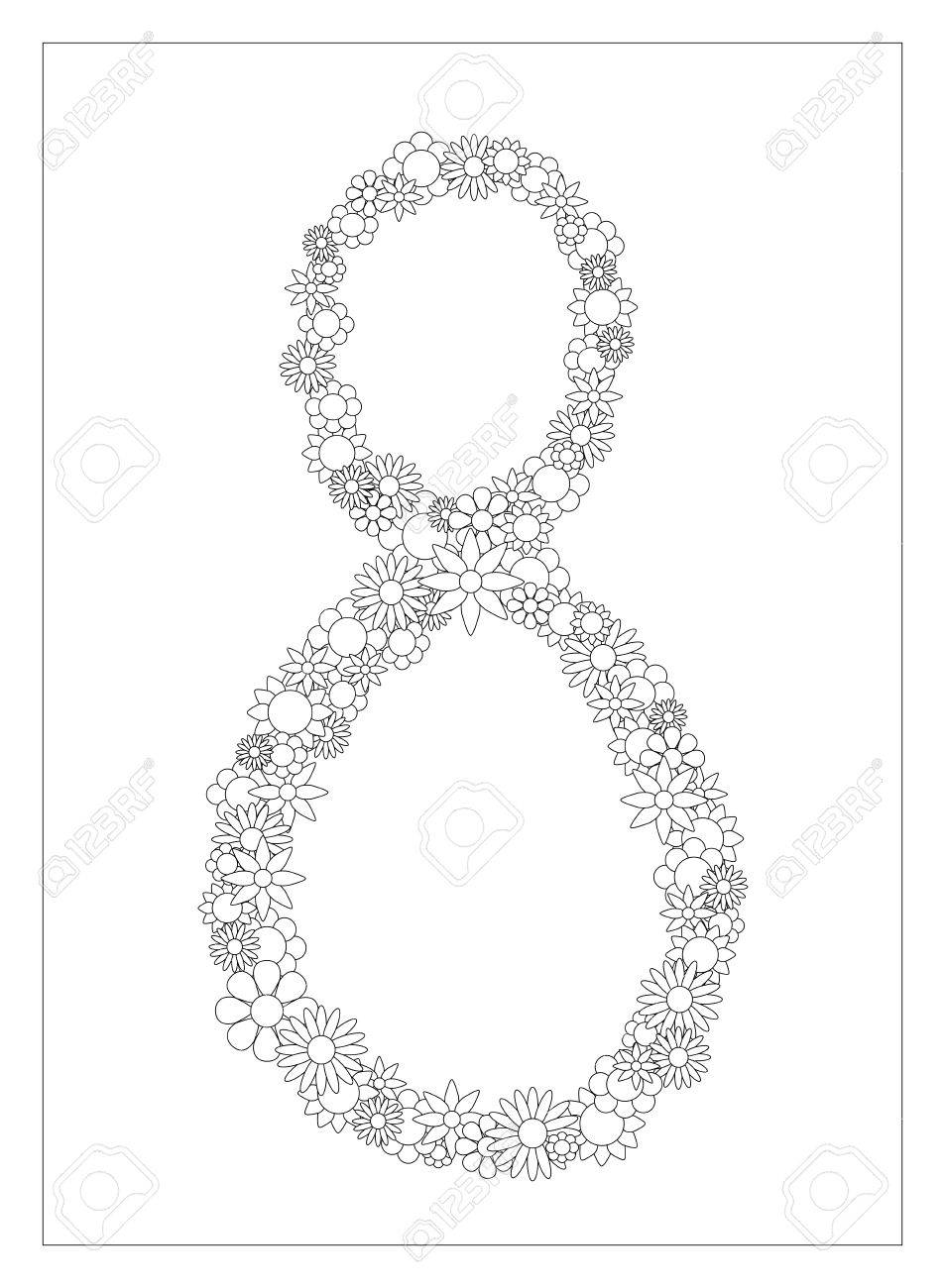 floral number 8 number eight from flowers coloring page illustration diy postcard with the