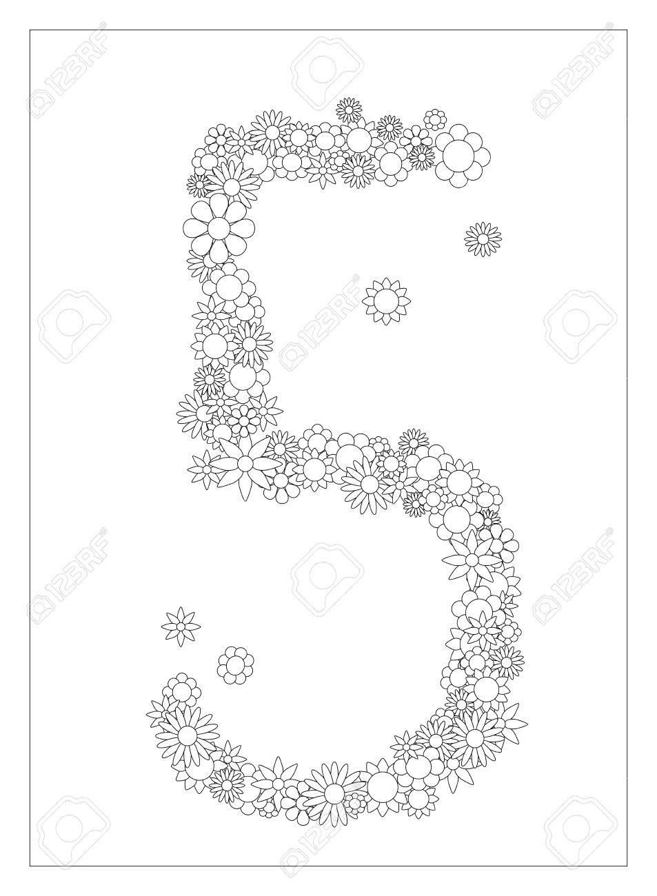 Número Floral 5 Número Cinco De La Página Flores Para Colorear La Ilustración Postal De Bricolaje Con El Lugar Para El Texto Adorno De Flores En