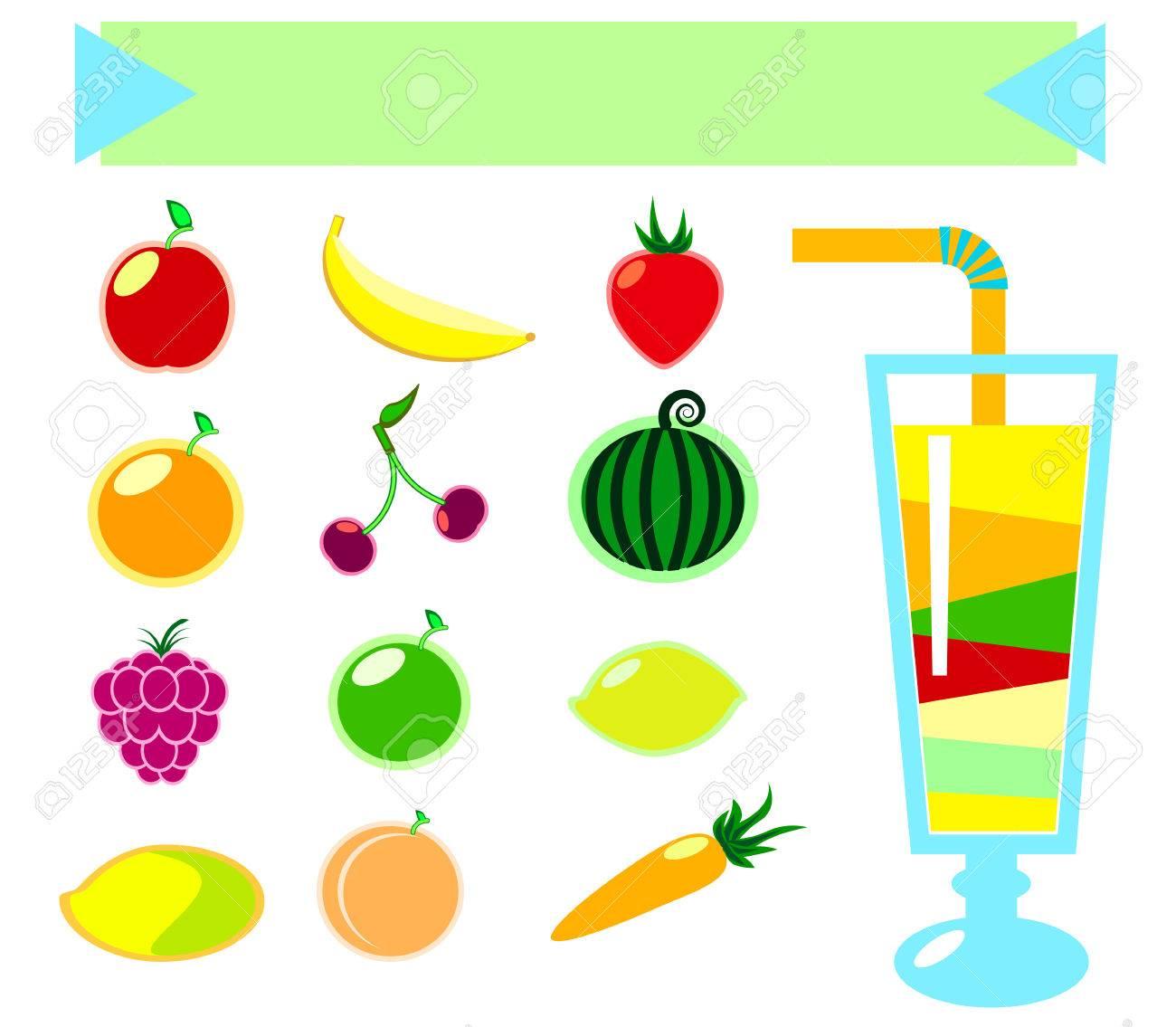 Vektor-Illustration Von Gesunden Getränken Und Obst In Flat, Obst ...