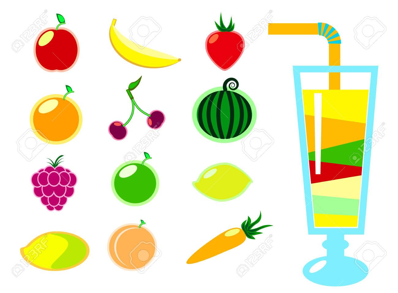 summer fruit and cocktails vector clipart colorful fruits vector rh 123rf com