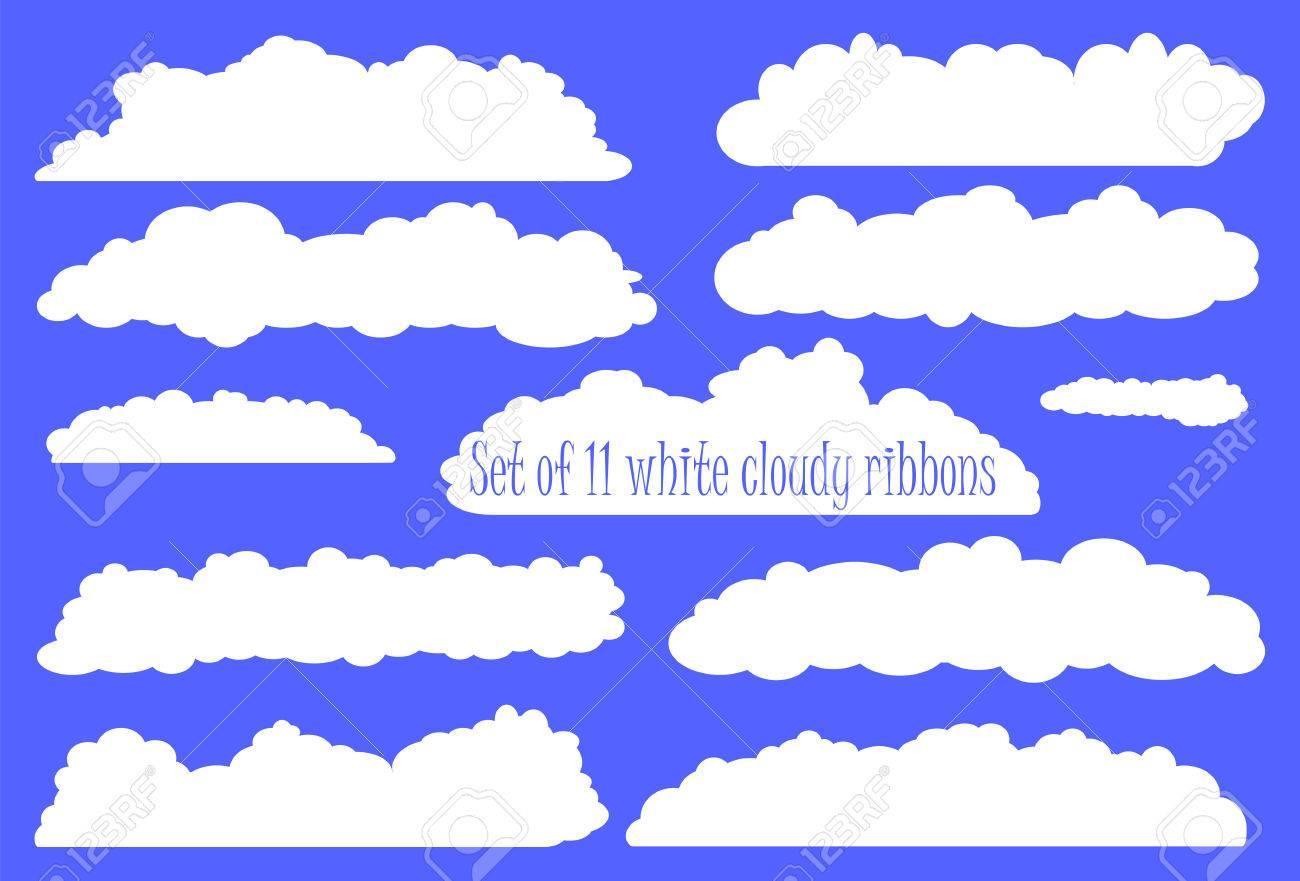 Weiße Flauschige Wolke Band Set Weiße Bänder Aus Wolken Für