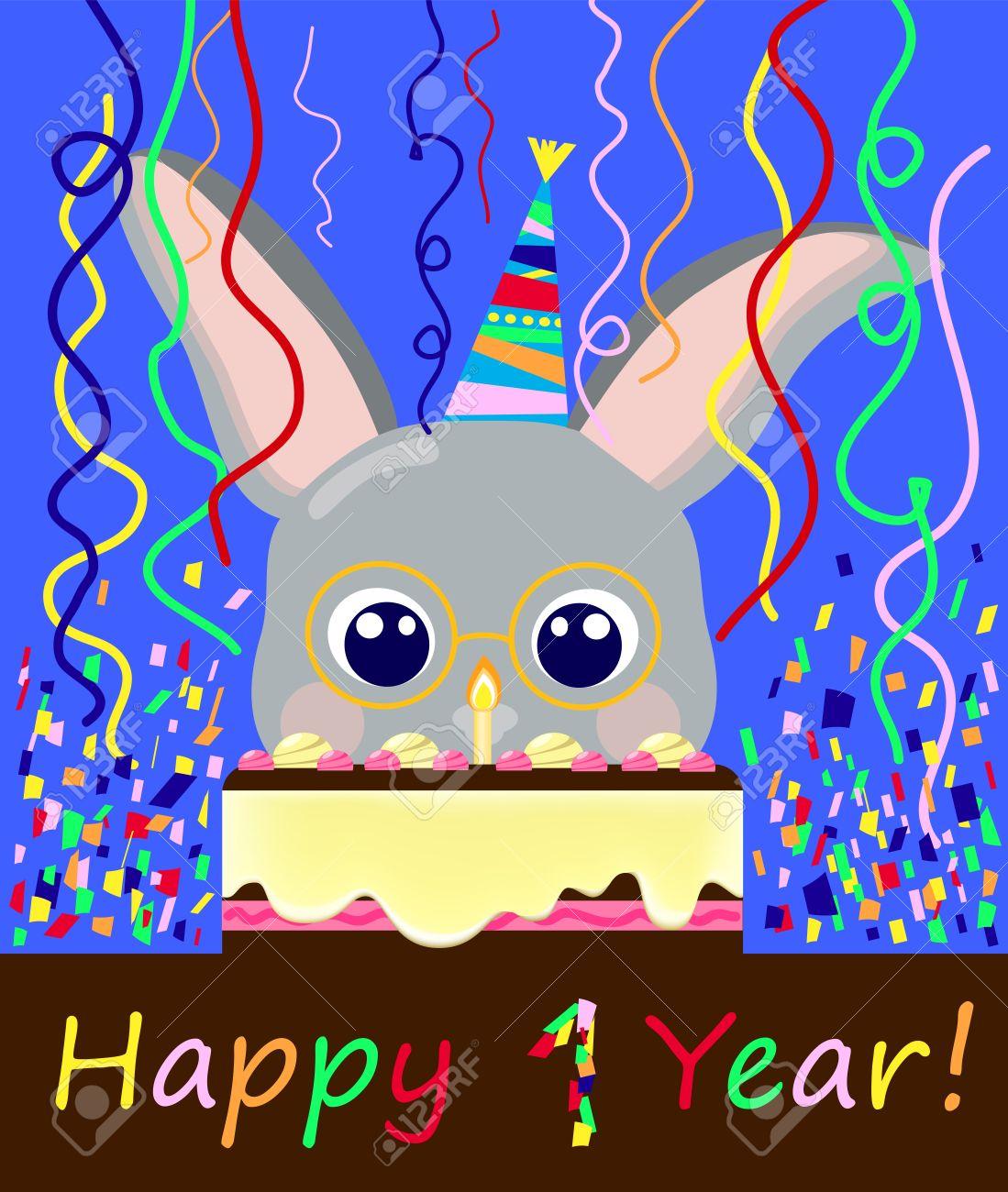 Geburtstag Postkarte 1 Jahr Schone Kaninchen Und Cremige Kuchen