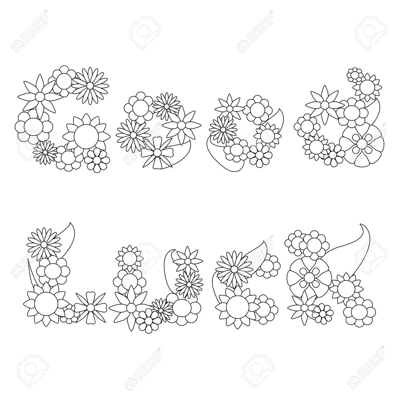 Good Luck Words By Flowers Ornament For Coloring, Words Flower ...