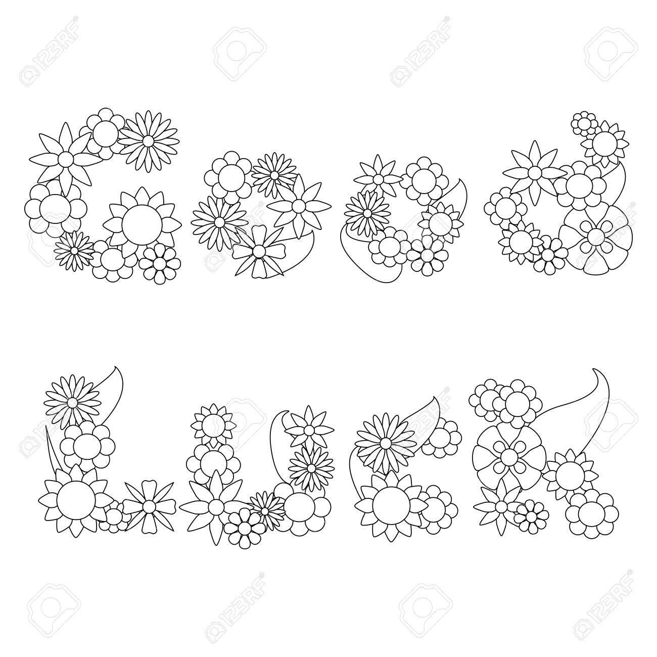 Good Luck Worte Von Blumen Ornament Für Das Färben, Wörter Blumen ...