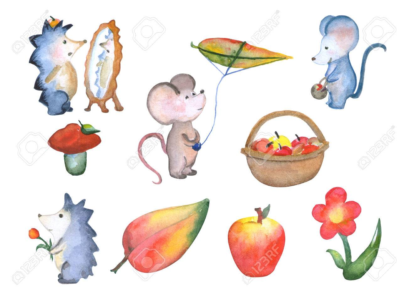 森のかわいい動物秋シーズン水彩イラスト、手分離保育イラストを描き、手
