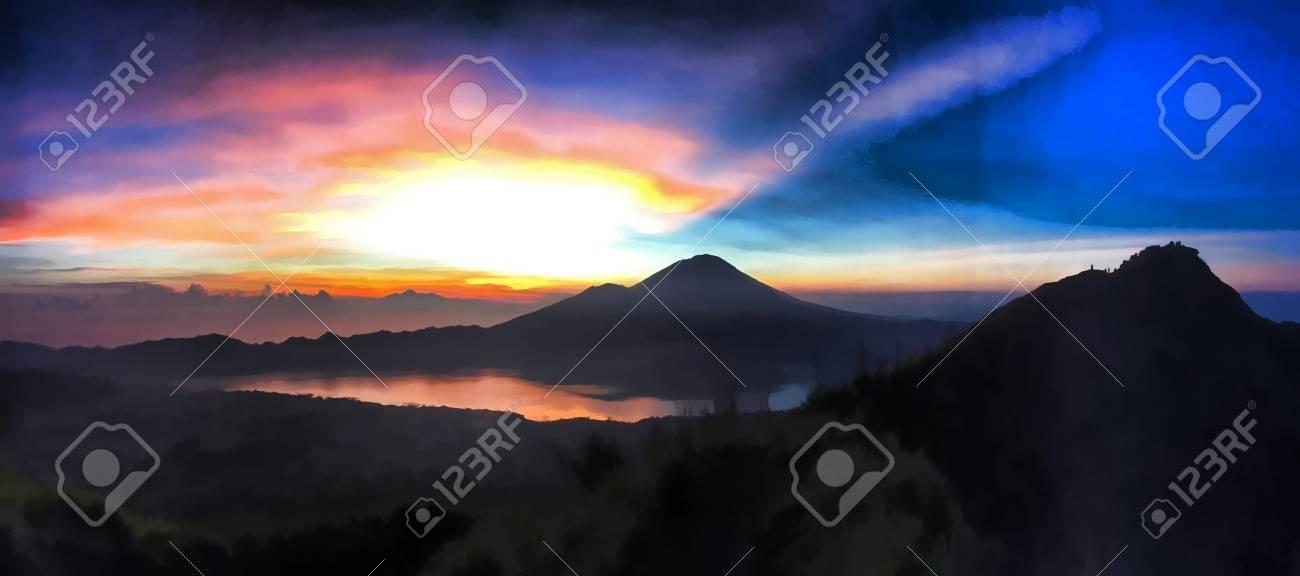 Sunrise In Mountains Digital Illustration For Wallpaper